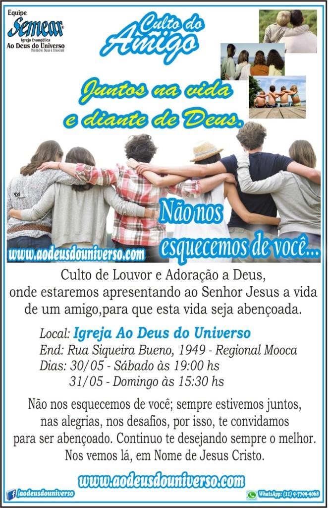 Convite Culto do Amigo