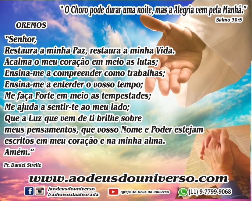 Oracao - O choro pode durar uma noite - Igreja Ao Deus do Universo