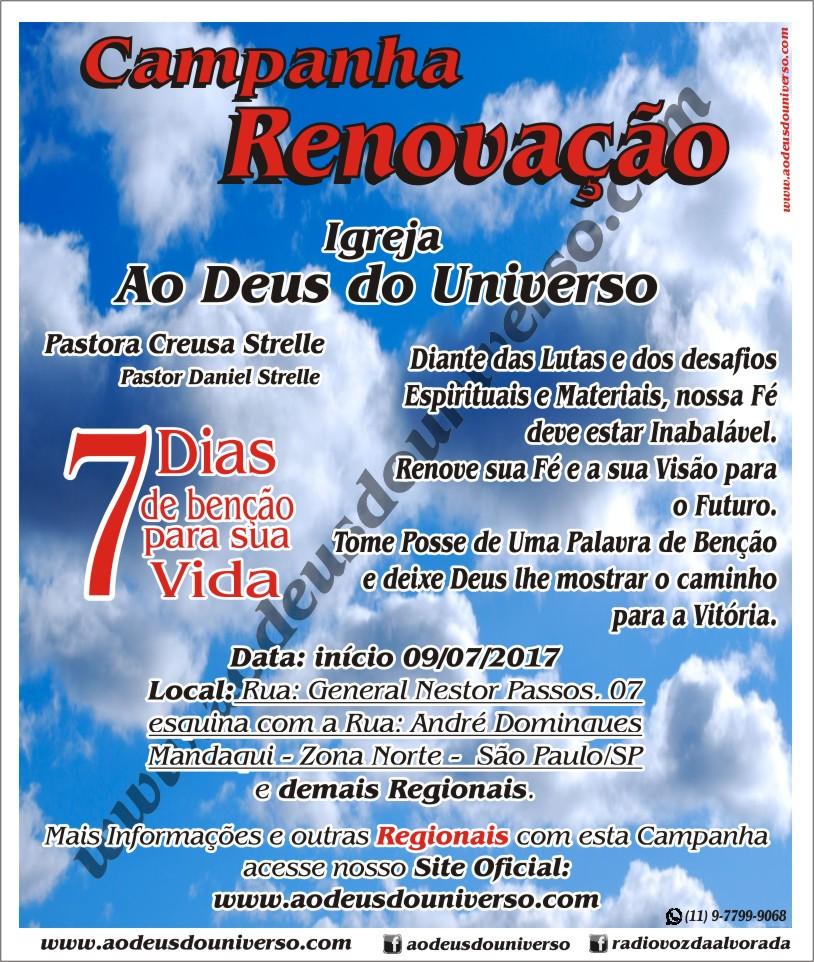 Campanha Renovação - Igreja Ao Deus do Universo